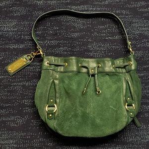 Tignanello Green Suede & Leather Bucket Bag